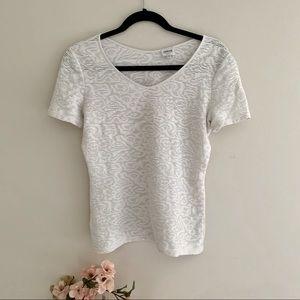 Armani Colleczioni white swirl knit blouse